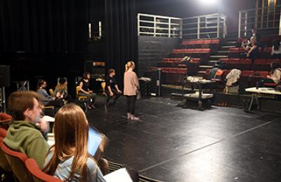Students at Pavilion Theatre with Barbara Pitts McAdams during January 2019 Rehearsal of #HereToo at Penn State