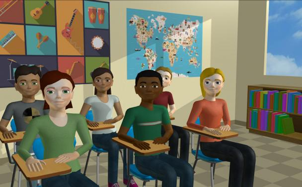 virtual students sitting in a virtual classroom