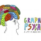Drawing of human head with multicolored sections of the brain and the title Graphic Psyche in hand-drawn letters of different colors